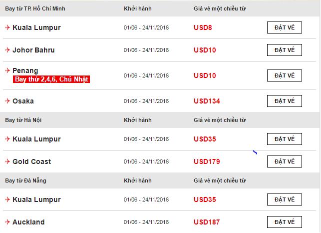 Một số chiều bay khuyến mãi của Air Asia.